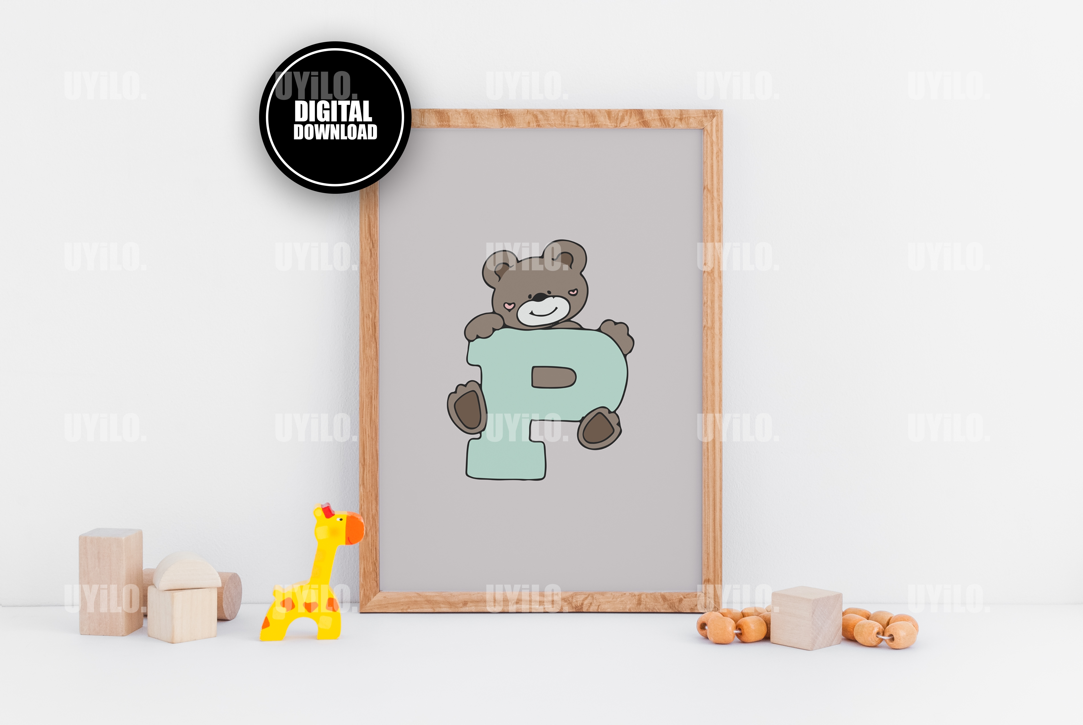 Bear With The Letter P Alphabet Print