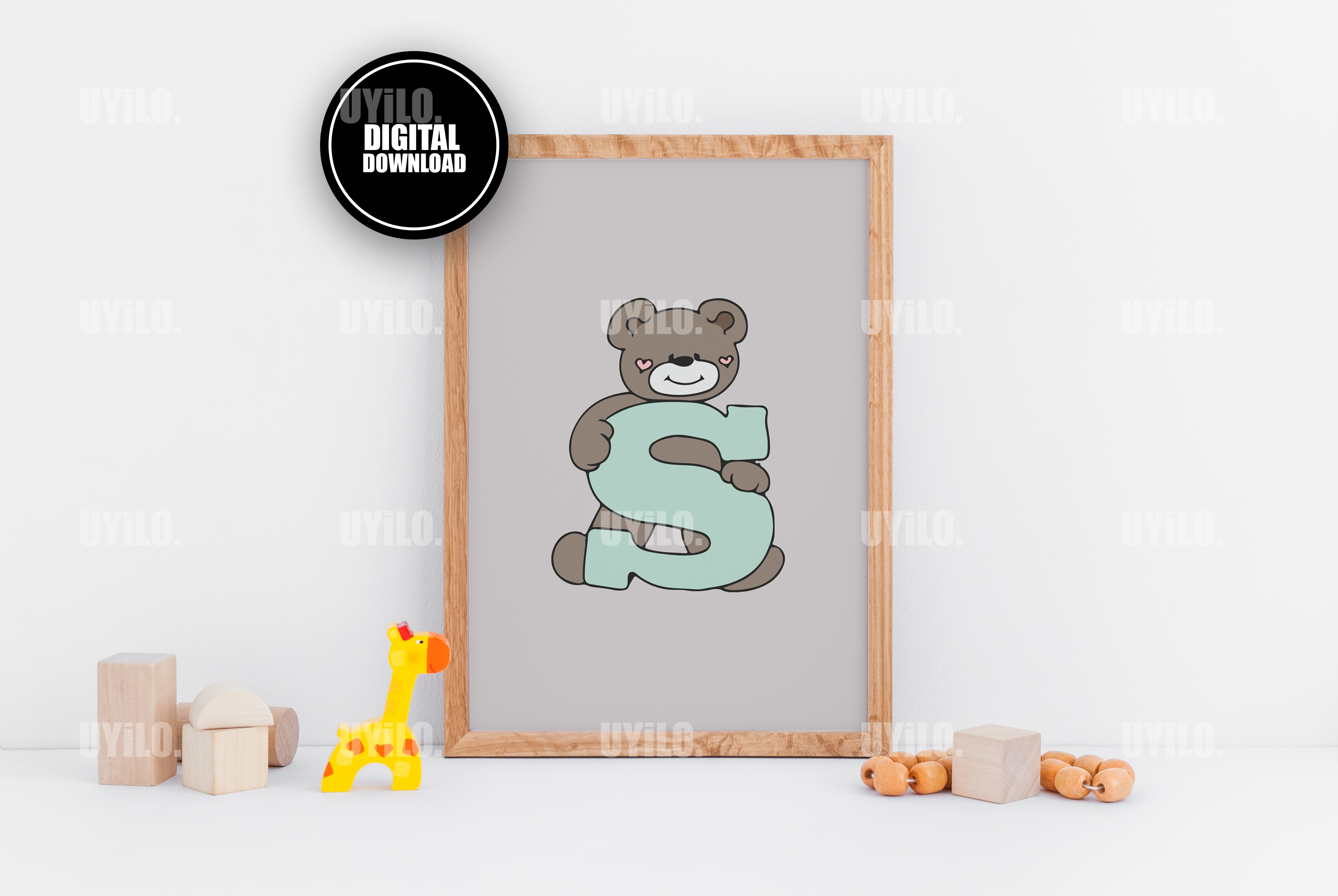 Bear With The Letter S Alphabet Print